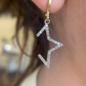 Gold Filled AAA CZ Pave Star Earrings